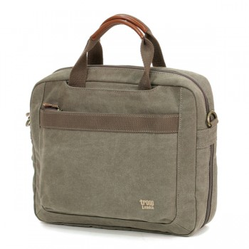 Laptop Bag Troop London TRP0191 Khaki (canvas, leather)
